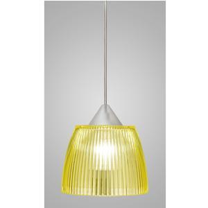 Lampada a sospensione Lady Piccola diametro 14x14xh90 cm con calotta prismatica Giallo