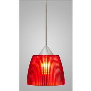 Lampada a sospensione Lady Piccola diametro 14x14xh90 cm con calotta prismatica rossa