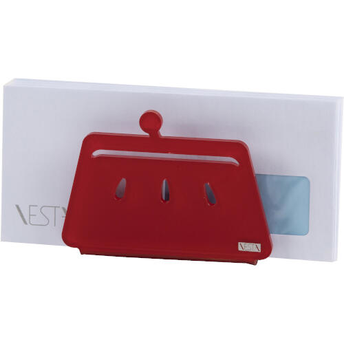 Portatovaglioli, Portaposta Verticale BETTY 12x5,5xh8 cm - spessore 5 mm colore Rosso