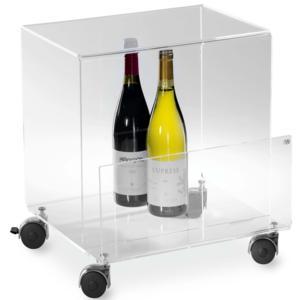 Tavolino Porta riviste portabottiglie TIMES 40x37.5xh40 in plexiglas trasparente