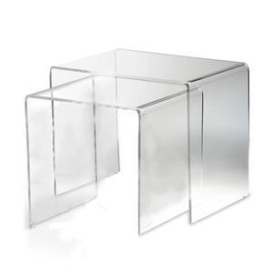 Tavolinetti sovrapponibili set 2 Pezzi in cristallo acrilico dimensione max 33x49,5xh 41 cm spesssore 8 mm