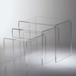 Tavolinetti da Caffe set 3 Pezzi in plexiglas trasparente max ingombro 33x49,5xh 41 cm spesssore 8 mm