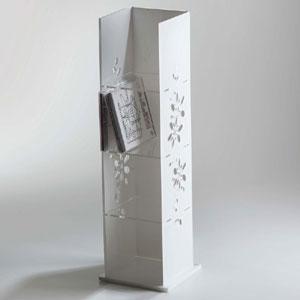 Porta CD 17x16.5xh55 cm FLOWERS con intagli floreali plexiglas 4 mm