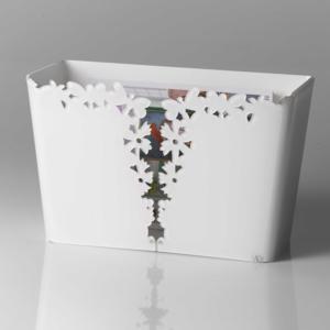 Portariviste in Plexiglass 38x16.5xh39 cm Butterfly con intagli al laser Farfalle Bianco