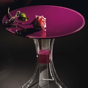 Tavolinetto struttura in plexiglas UNIDICI 2 ripiano bicolore in plexiglas Pugna