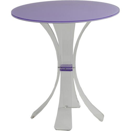 TAVOLINETTO coffe table in cristallo acrilico con piano bicolore UNDICI.2 50x50xh54 cm colore LILLA