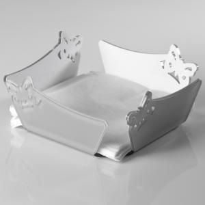 Portatovaglioli Orizzontale in Plexi Bicolore BUTTERFLY 21x21xh8 cm bianco