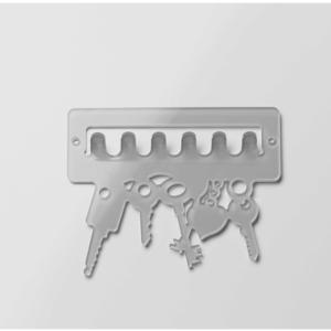 Portachiave Portaposta da muro intagliato al laser 19x15,5x2cm in plexiglas Keys Tortora