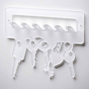 Portachiave Portaposta da muro intagliato al laser 19x15,5x2cm in plexiglas Keys Bianco
