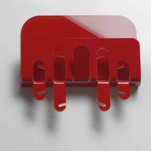 Portachiave Portaposta da muro 30x6xh33cm R2 in plexiglas bicolore Rosso