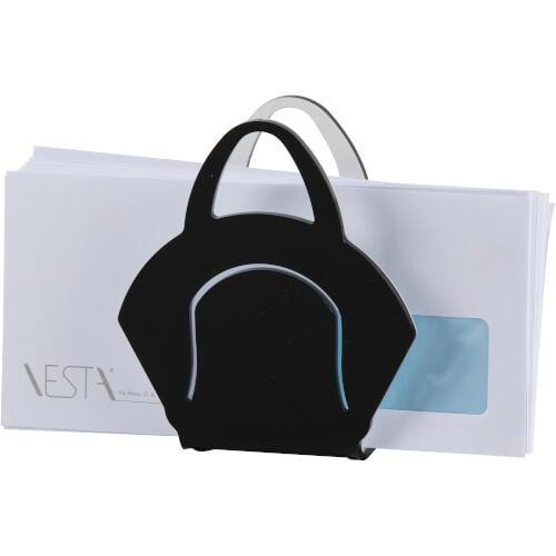 Portatovaglioli, Portaposta Verticale CHANTAL 10x5,5xH6,5 cm - spessore 5 mm colore nero