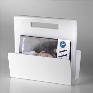 Portariviste TABLOID in plexiglas trasparente 35x17,5x32 h cm Bianco