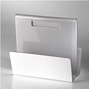 Portariviste TABLOID in plexiglas trasparente 35x17,5x32 h cm Grigio Tortora