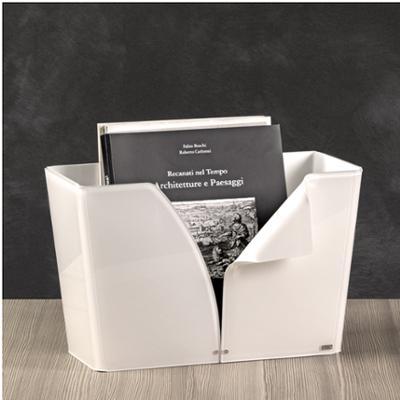 Portariviste ECO in plexi Bianco 38x16,5x25h piegato a mano