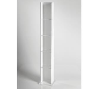 Libreria,Porta CD 17x13.5xh123,5 cm BASIC in plexiglas 5 mm Bianco