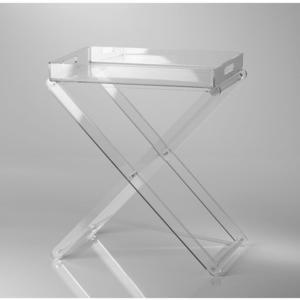 Pliant pieghevole con vassoio 47x30x56h in Plexiglas trasparente