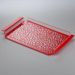 Vassoio da tavola in plexiglas 35x20,5xh2.5 cm con maniglie decoro Pavè rosso