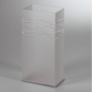 Portaombrelli in Plexi Satinato 25x16xh50 cm FLUCTUS con intagli al laser vaschetta raccogli acqua inox