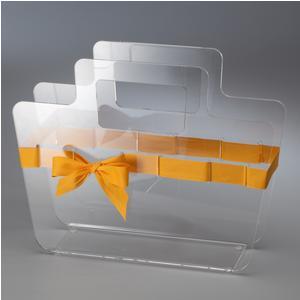 Portariviste in plexiglass trasparente con maniglie Bow Mag 38x10xh30 cm nastro in raso giallo