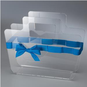 Portariviste in plexiglass trasparente con maniglie Bow Mag 38x10x30 cm nastro in raso blu