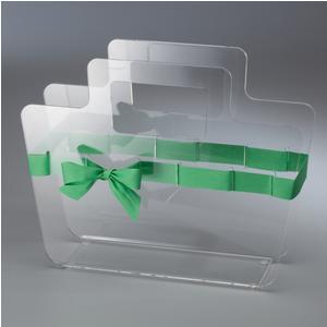 Portariviste in plexiglass trasparente con maniglie Bow Mag 38x10xh30 cm nastro in raso verde