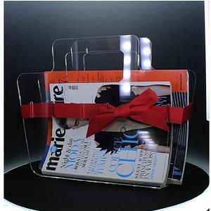 Portariviste in plexiglass trasparente con maniglie Bow Mag 38x10xh30 cm nastro in raso rosso