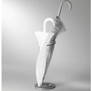 Portaombrelli In Filo Metallico FASHION 21x21x67h con vaschetta raccogli acqua in alluminio frontale bianco