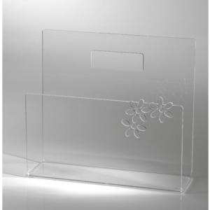 Portariviste FLOWERS in plexi Trasparente 40x10x30h forato al laser