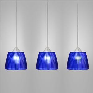Lampada da soffitto a sospensione 3 lampade LADY diametro Ø14x65xh90cm Blu