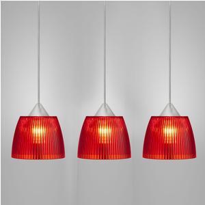Lampada da soffitto a sospensione 3 lampade LADY diametro Ø14x65xh90cm Rosso