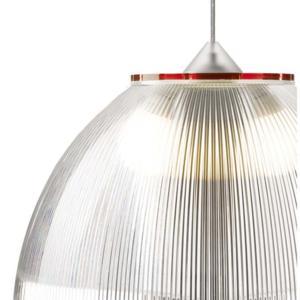 Lampadario a sospensione Ø52xh36 cm interno prismatico Cappellino gigante Rosso