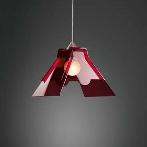 Lampada a sospensione BULB 35x28x30 - 75 Watt E 27 colore rosso trasparente