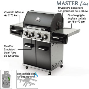 Barbecue REGAL 490 Broil King Quattro bruciatori Dual-Tube in acciaio inox da 13.30 Kw con fornello laterale