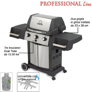 Barbecue Signet 20 Broil King 3 bruciatori Dual-Tube in acciaio Inox da 12.00 Kw