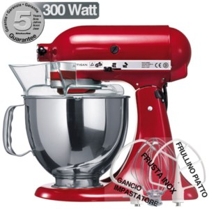 KitchenAid Artisan Rosso Imperiale 300W Garanzia italiana 5KSM150PSR ...