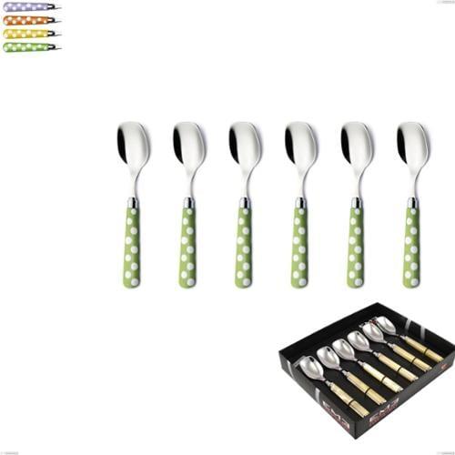 Confezione vetrina 6 pezzi cucchiaino gelato Ballon, (acciaio 18.10 aisi304), manico in nylon sublimato