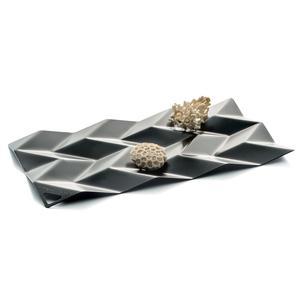 Centrotavola in acciaio inox 18/10 Medium BD10 33,5x18,5 cm verniciato nero lucido
