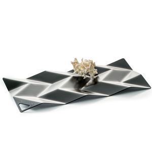 Centrotavola in acciaio inox 18/10 Small BD10 28,5x14 cm verniciato nero lucido