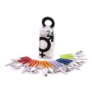 Set di Posate Colorate assortite in 6 colori BONITA 24 pezzi in acciaio 18c in Confezione YOU And Me