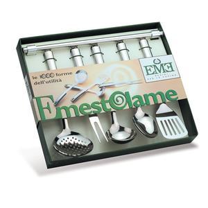 Confezione 5 utensili da cucina in acciaio 18/10 con appendimestoli da muro collezione Club Mestoli