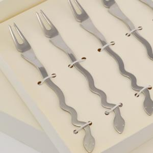 Forchette Molluschi 6 pezzi Temptation in acciaio inox 18/10 Lucido spessore 2 mm in confezione bomboniera