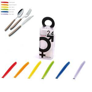 Set di Posate Colorate assortite in 6 colori CROMO 24 pezzi in acciaio 18c in Confezione YOU And Me