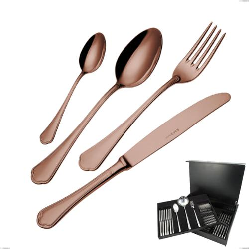 Astuccio legno 75 pezzi Domus Chocolate, Acciaio 18/10, spessore 3 mm