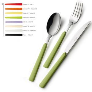 Servizio Posate Colorate 4 pezzi FAST 1 Coltello 1 Forchetta 1 Cucchiaio 1 Cucchiaino caffè in acciaio 18.C