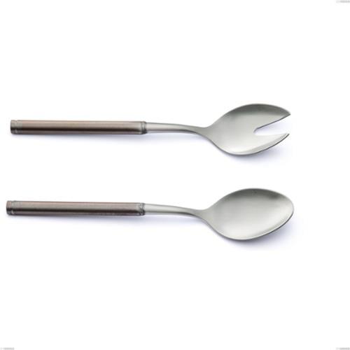 Coppia insalata Fuoco, Acciaio inox 18.10 (AISI304), lunghezza 250 mm, manico in tubolare d'acciaio sabbiato e brunito