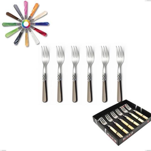 Confezione vetrina 6 pezzi forchette dolce Ginevra, (acciaio 18.10 aisi304), manico in metacrilato
