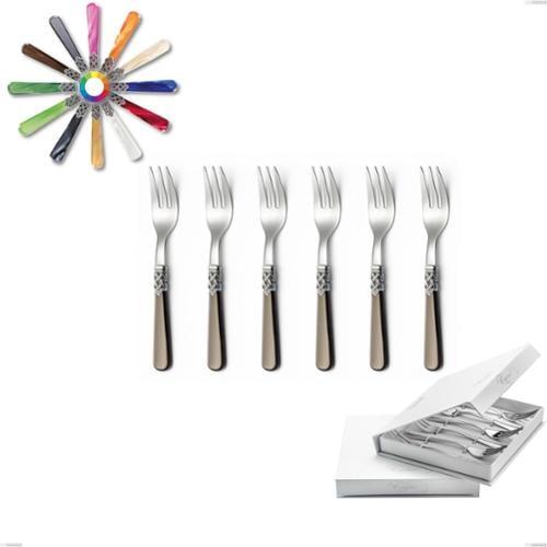 Confezione a libro 6 pezzi forchette dolce Ginevra, (acciaio 18.10 aisi304), manico in metacrilato
