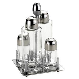 Oliera Base quadrata JOINT in acciaio lucido con ampolle in vetro e tappo salvagoccia