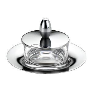 Formaggiera rotonda JOINT in acciaio lucido con contenitore in vetro cristallino