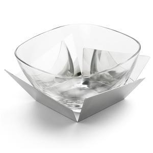 Coppa Macedonia insalata KENTO 26x26xh12,5 cm con supporti in acciaio e ciotola in cristallo